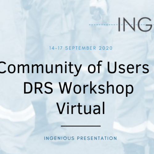 """INGENIOUS presentation at the virtual """"Community of Users – DRS Workshop"""""""