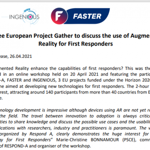 """Joint press release on the occasion of the workshop """"How can Augmented Reality enhance First Responders' capabilities"""""""